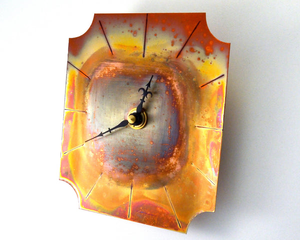 Small Wall Clock, Distressed Copper Wall Decor