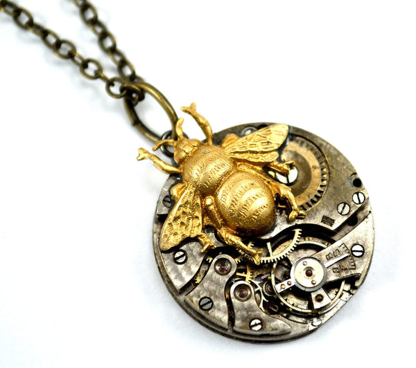 Steampunk Bee Necklace, Bee on Time!