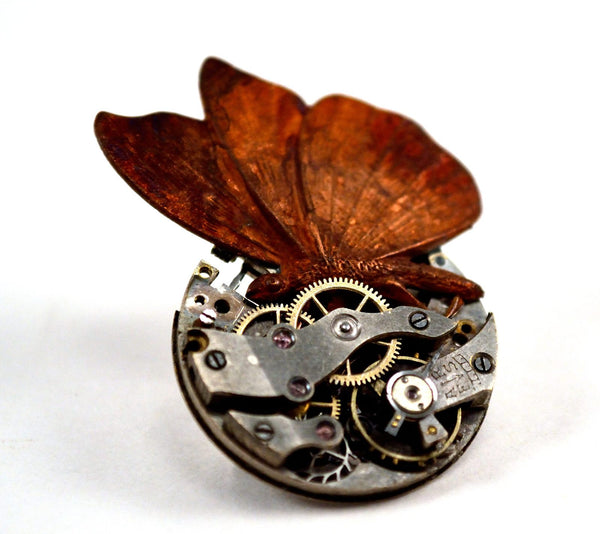Steampunk Butterfly Brooch Pin, Watch Mechanism