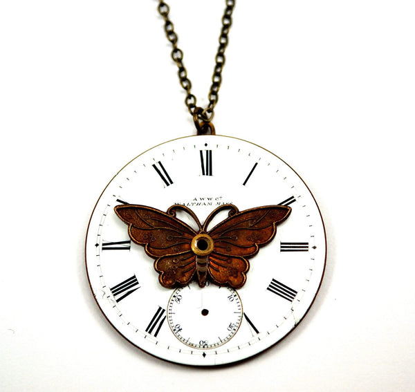 Steampunk Butterfly Necklace with Enamel Pocket Watch Dial