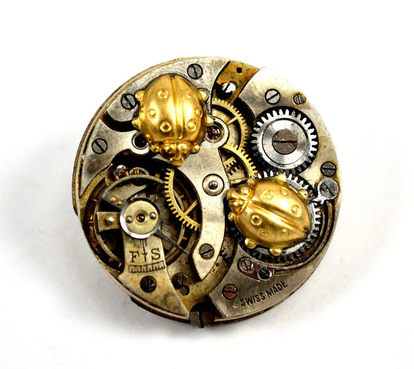 Steampunk Ladybug Brooch Pin, Watch Movement