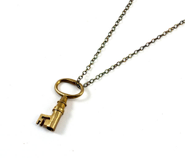 Tiny Bronze Skeleton Key Necklace