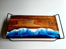 Load image into Gallery viewer, Elevated Serving Board Ocean Resin Art