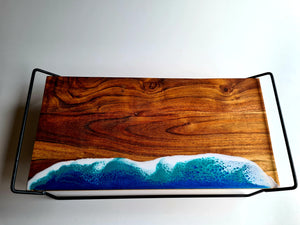 Elevated Serving Board Ocean Resin Art