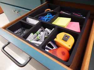 2 Desk Utility Kitchen Drawer Organizers Tray Inserts Pen Pencil Notes Holder Washable 14.8 X 12.3 X 2 Inches 8 Compartments Black 2 Pieces