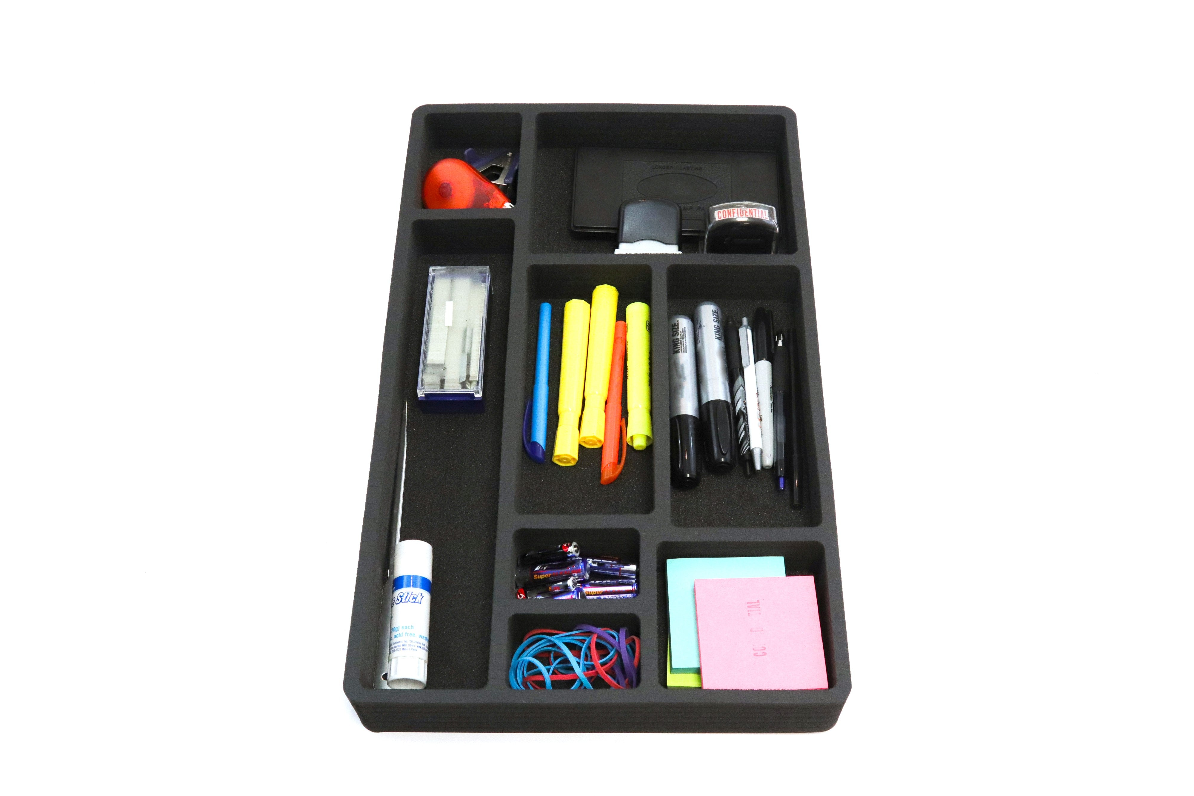 3 Piece Desk Drawer Organizers Tray Non-Slip Waterproof Insert 19.9 X 12.1 X 2 Inches Black 8 Compartments Extra Deep Set of 3
