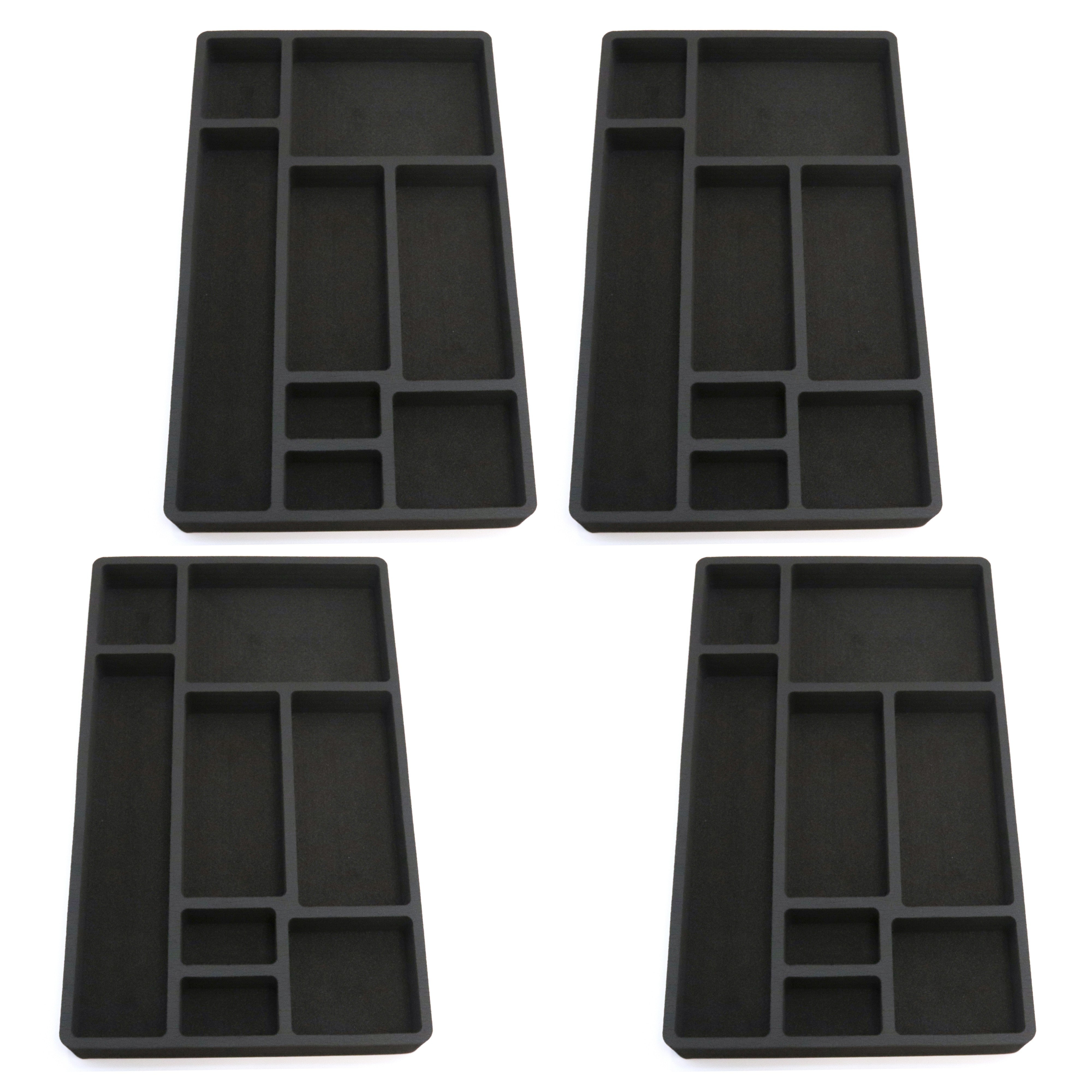 4 Piece Desk Drawer Organizers Tray Non-Slip Waterproof Insert 19.9 X 12.1 X 2 Inches Black 8 Compartments Extra Deep Set of 4