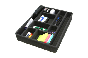 3 Piece Desk Drawer Organizers Tray Non-Slip Waterproof Insert 12 X 16 X 2 Inches Black 10 Compartments Extra Deep Set of 3