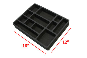 4 Piece Desk Drawer Organizers Tray Non-Slip Waterproof Insert 16 X 12 X 2 Inches Black 12 Compartments Extra Deep Set of 4