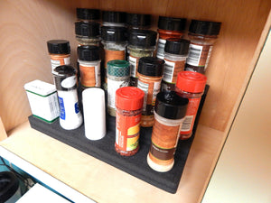 2 Cabinet or Countertop Spice Rack Organizers 4-Tier Insert Collectibles Holder Washable 13.25 x 8.75 x 4.2 Inches 4 Steps Black