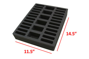 3 Compact Drawer Organizers Compatible with IKEA Alex Tray Washable Waterproof Insert 11.5 x 14.5 x 2.25 Inches 30 Compartments Black