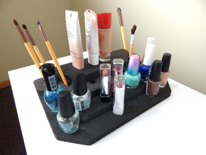 4 Makeup Lipstick Stands Organizer Tray Washable Insert for Lipstick Nail Polish 11.5 x 7 x 2.25 Inches Black