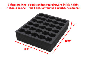 3 Nail Polish Drawer Organizers Tray Washable Waterproof Insert 8.9 x 10.9 x 2 Inches 30 Compartments Black