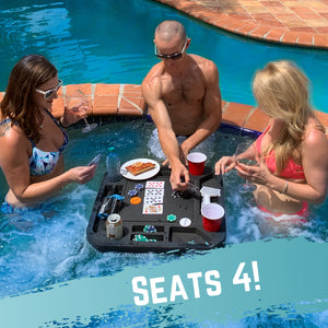 Floating Medium Poker Table Pool Float Includes Waterproof Playing Cards 23.5""