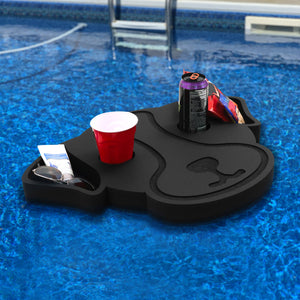 Dog Shaped Drink Holder Floating Refreshment Table Tray for Pool or Beach Party Float Lounge Durable Black Foam 4 Compartment with Cup Holders 2 Feet