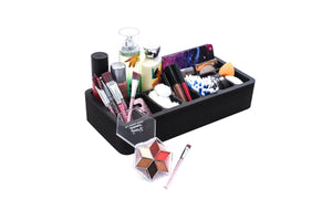 Vanity Organizer Makeup Beauty Stand Holder for Brushes, Lip Gloss, Eye Liner and More Home Bathroom Bedroom Salon 15 x 7 Inches Black 9 Compartments