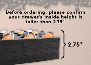 Polar Whale Coffee Espresso Capsule Drawer Organizer Tray Insert Compatible with Nespresso Vertuo VertuoLine for Kitchen Home Office Waterproof Washable Black Foam 36 Compartment 12.6 X 17.9 Inches