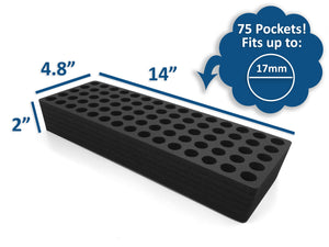 Test Tube Organizer Black Foam Storage Rack Stand Transport Holds 75 Tubes Fits up to 17mm Diameter Tubes
