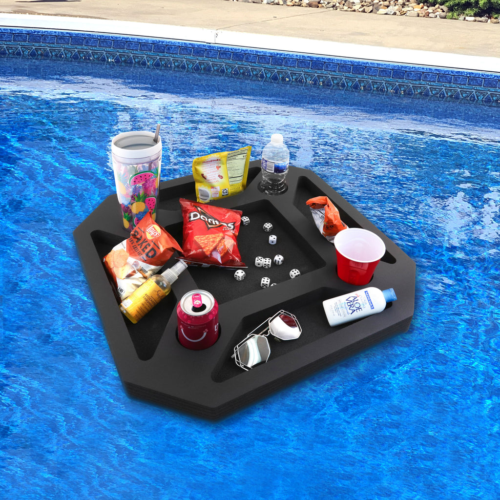Floating Refreshment Table Tray and Drink Holder for Pool, Hot Tub or Beach Party Float Durable Black Foam 9 Compartment with Cup Holders 23.5 Inch