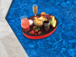 Floating Spa Hot Tub Bar Drink and Food Table Red and Black Tray for Pool or Beach Party Float Lounge Durable Foam 17 Inches Oval 7 Compartment