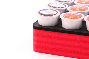 Coffee Red and Black Pod Storage Deluxe Organizer Tray Drawer Insert Washable 12.5 X 12.5 Inches Holds 36 Compatible with Keurig K-Cup
