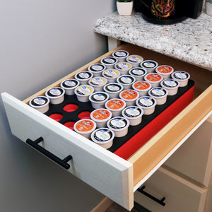 Coffee Red and Black Pod Storage Deluxe Organizer Tray Drawer Insert Washable 10.9 X 14.9 Inches Holds 35 Compatible with Keurig K-Cup