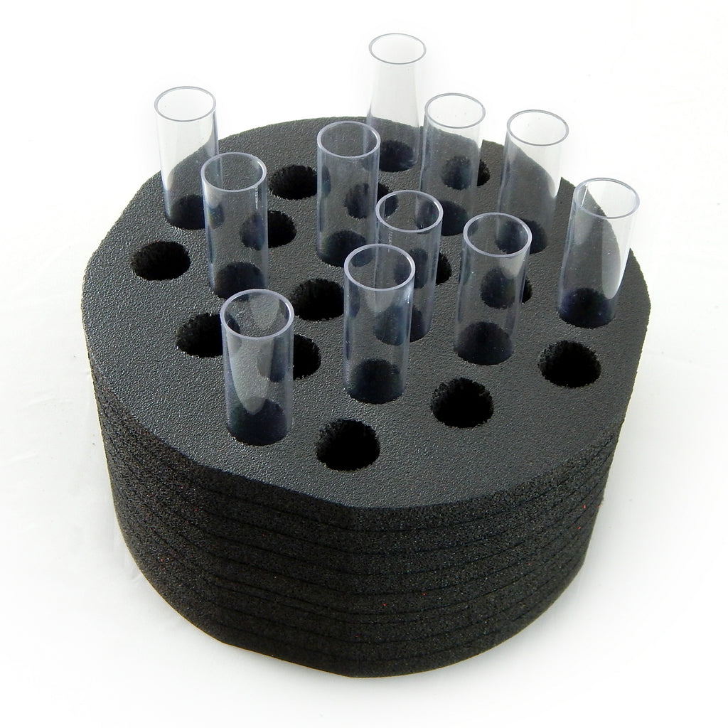 Polar Whale Test Tube Rack Black Foam Rounded Shaped Storage Organizer Stand Transport Holds 24 Tubes Fits up to 16mm Diameter
