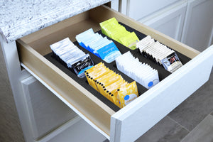 Polar Whale Tea Bag Storage Deluxe Organizer Tray Drawer Bin Insert for Kitchen Home Office Condiments Packets Waterproof Washable Black Foam 6 Compartment 12.5 X 12.5 Inches