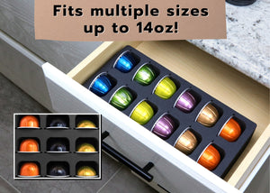 Polar Whale Coffee Espresso Capsule Drawer Organizer Tray Insert Compatible with Nespresso Vertuo VertuoLine for Kitchen Home Office Waterproof Washable Black Foam 12 Compartment 4.5 X 11.75 Inches
