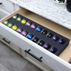 Polar Whale Coffee Espresso Capsule Drawer Organizer Tray Insert Compatible with Nespresso Vertuo VertuoLine for Kitchen Home Office Waterproof Washable Black Foam 20 Compartment 7.75 x 20 Inches