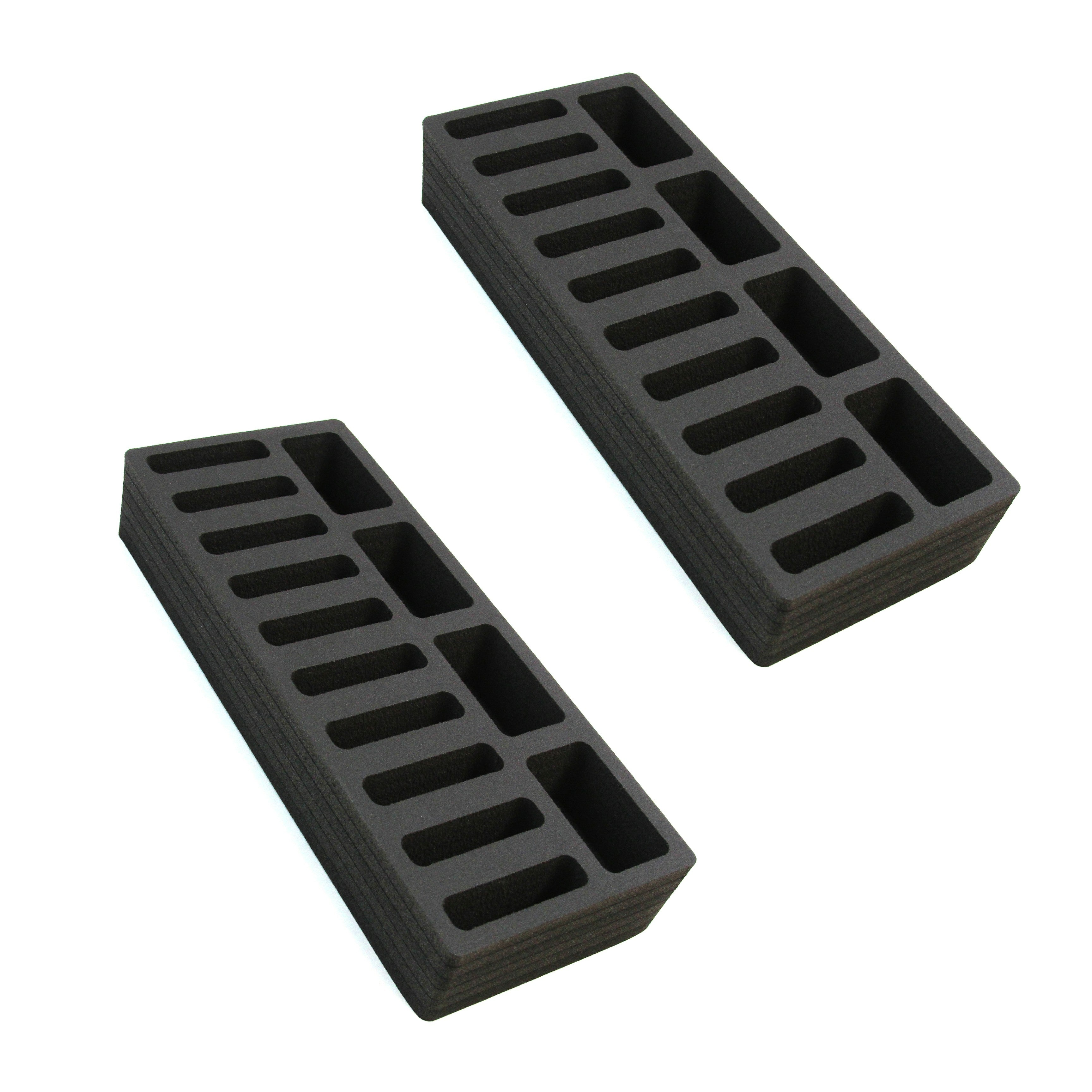2 Compact Drawer Organizers Compatible with IKEA Alex Tray Washable Waterproof Insert 5.75 x 14.5 x 2.25 Inches 14 Compartments Black