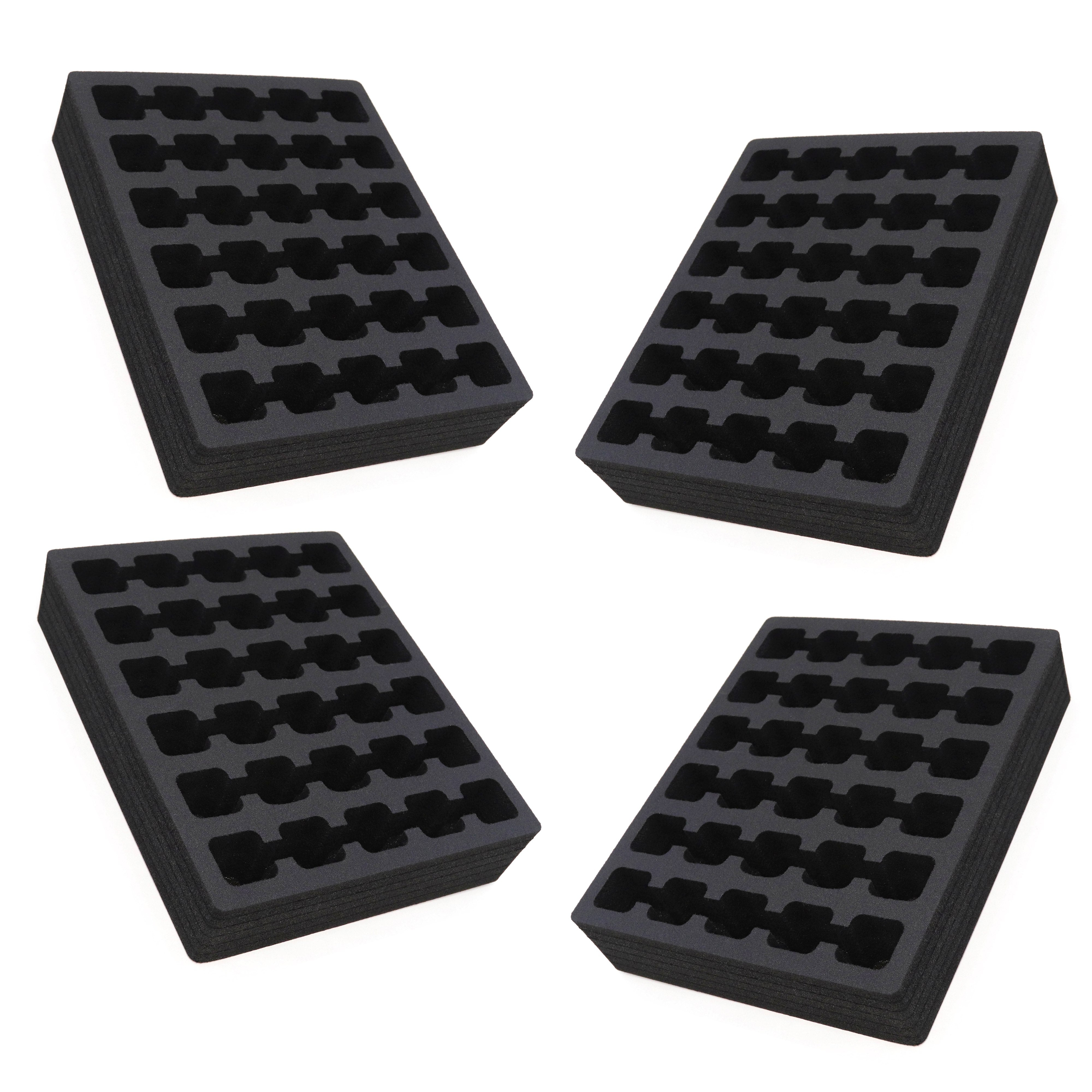 4 Nail Polish Drawer Organizers Tray Washable Waterproof Insert 8.9 x 10.9 x 2 Inches 30 Compartments Black