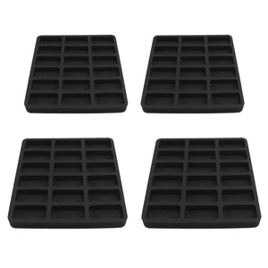 4 Toy Car Drawer Organizers Compatible with Hot Wheels and Matchbox Cars 10.9 x 11.6 x 1 Inches Black Foam 18 Compartments