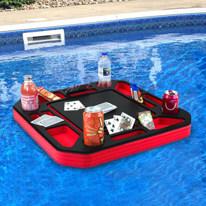 Floating Poker Table Red and Black Game Tray for Pool or Beach Float Lounge Durable Foam 23.5 Inch Chip Slots Drink Holders with Waterproof Cards