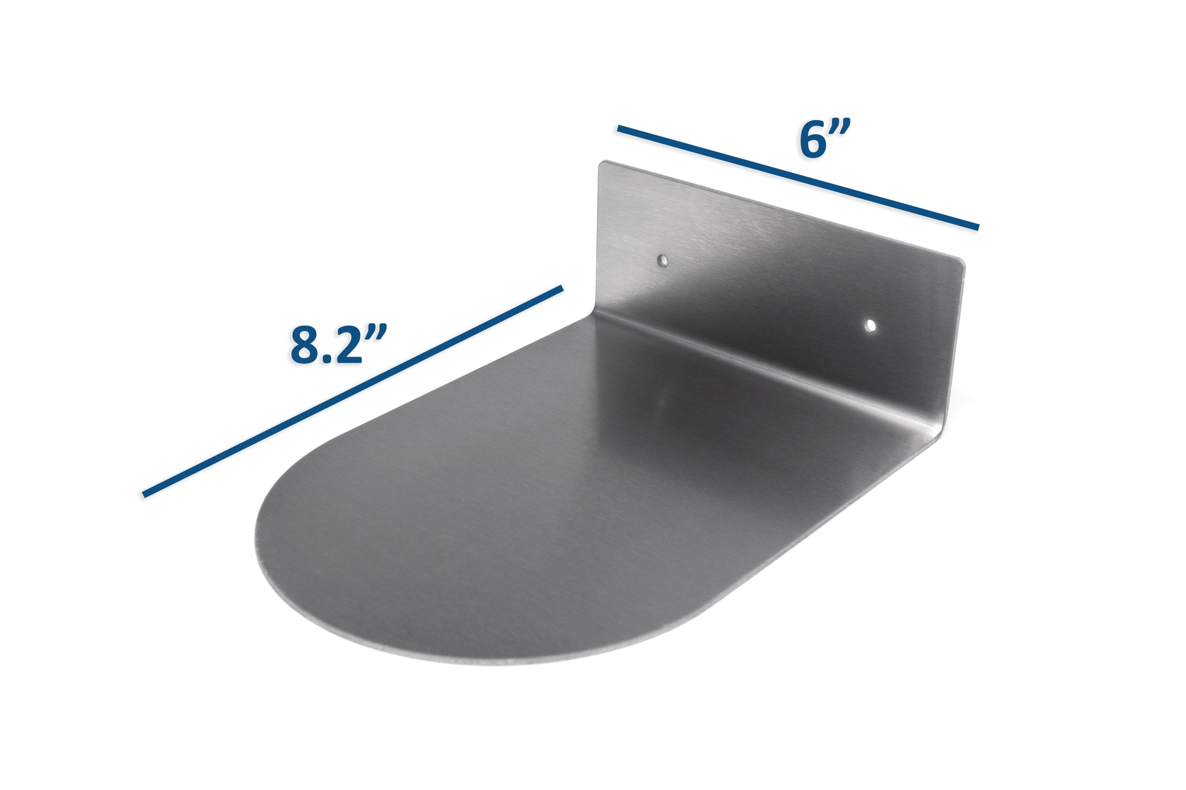 Modern Hanging Brushed Stainless Steel Floating Wall Shelf Round Decor Durable Polished Solid Metal for Home with Mounting Hardware 6 Inches Wide