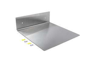 Modern Hanging Brushed Stainless Steel Floating Wall Shelf Decor Durable Polished Solid Metal for Home with Mounting Hardware 8 Inches Wide