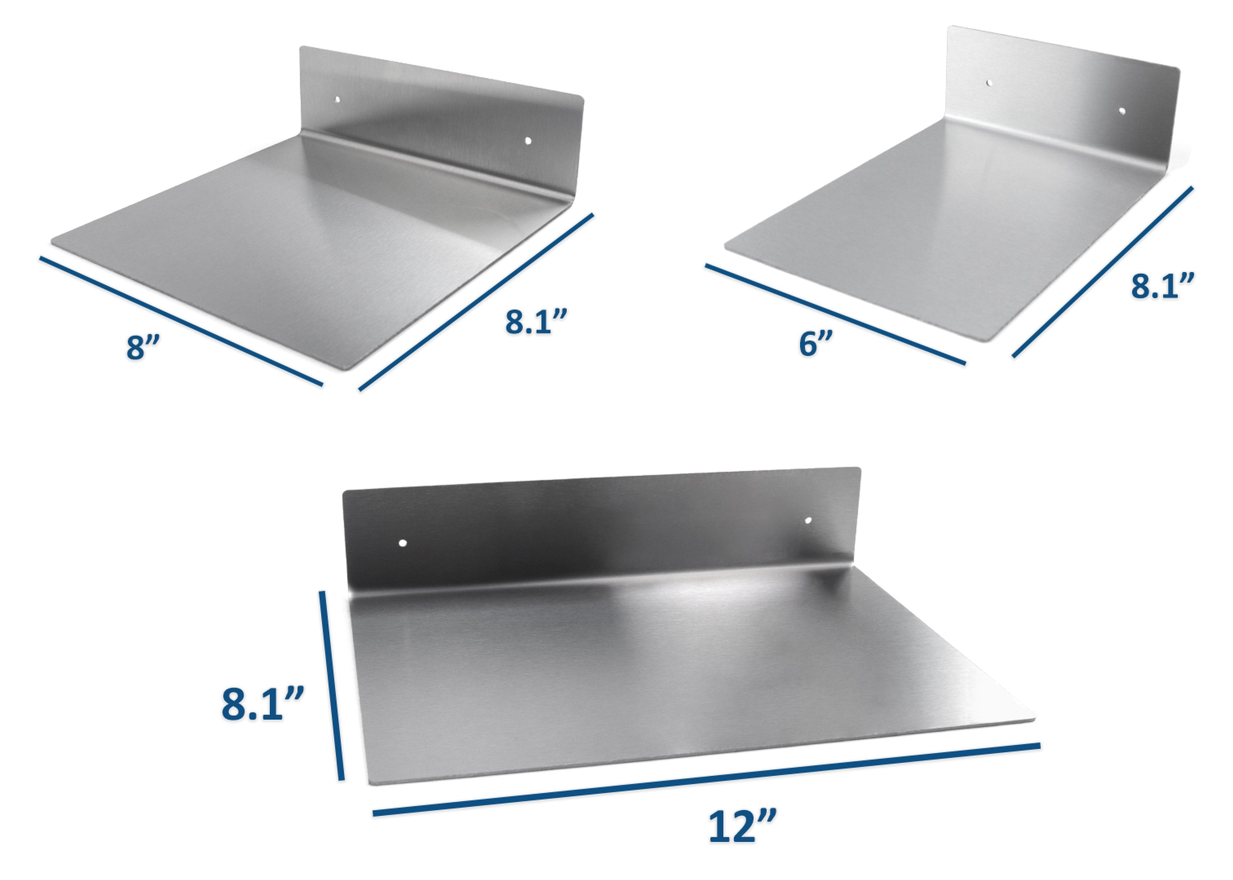 Modern Hanging Brushed Stainless Steel Floating Wall Shelf Decor Durable Polished Solid Metal for Home with Mounting Hardware Complete Set of 3