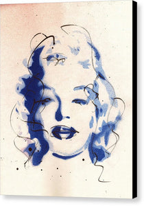 Blue Marilyn - Portrait of Marilyn Monroe Canvas Print by Ryan Hopkins