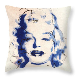 Blue Marilyn - Throw Pillow - Portrait of Marilyn Monroe by Ryan Hopkins