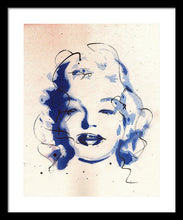 Load image into Gallery viewer, Blue Marilyn - Portrait of Marilyn Monroe Framed Print by Ryan Hopkins
