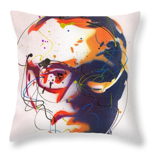 Portrait of Damien Hirst II - Throw Pillow by Ryan Hopkins