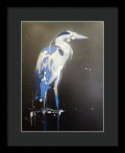 Midnight Blue Heron I - Framed Print