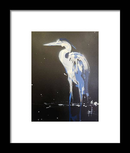 Midnight Blue Heron II - Framed Print