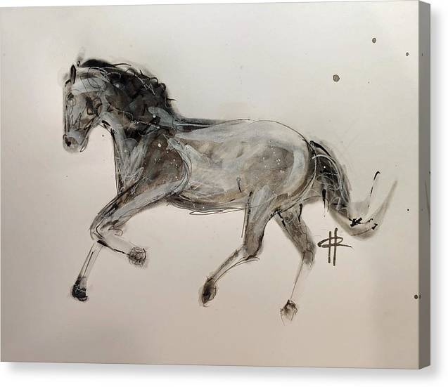 Unbridled -Ink Sketch of a Horse on Canvas by Ryan Hopkins