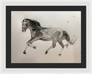Unbridled - Framed Ink Sketch Horse Print by Ryan Hopkins