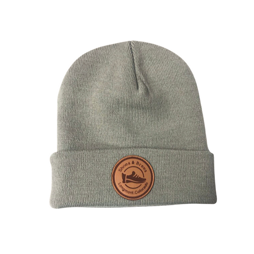 Gray Beanie w. Leather patch