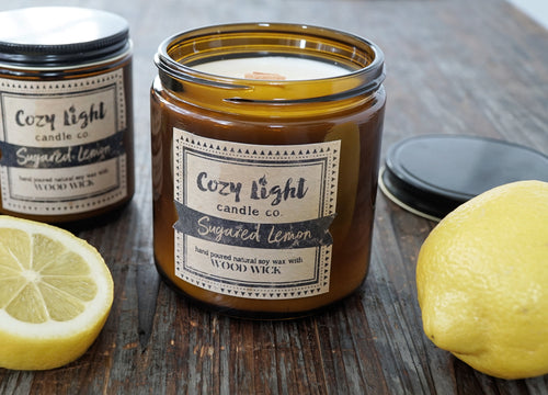 SUGARED LEMON Wood Wick Candle