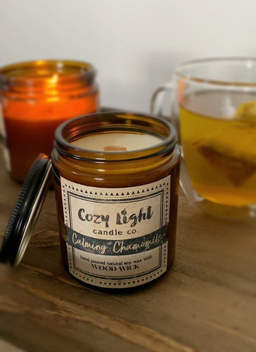 CALMING CHAMOMILE Wood Wick Candle