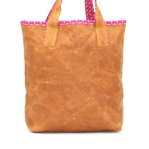 Bosisi Designs Everyday Rugged Leather Handbag - Cape Daisy Pink