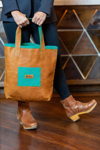 Everyday Rugged Leather Handbag - Aloe Green